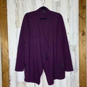 Eileen Fisher Merino Wool And Leather Cardigan